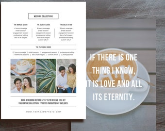 Photography Pricing Template 5x7 Wedding Photographer Marketings - Photoshop Templates - Photography Templates - Bittersweet Designs