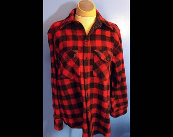 Vintage Woolrich Wool Shirt Red and Black Buffalo Plaid Size Mens M Womens L