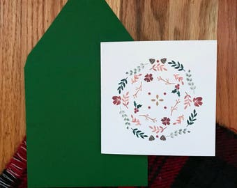 Set of 10 Christmas Cards - Floral Christmas Pattern