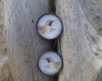 Hummingbird Earrings Handmade with watercolor art print in Bronze Lever Back