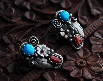 78899210b Old Pawn Vtg Navajo Sterling Silver Turquoise and Mediterranean Red Coral  Cactus Squash Blossom Clip On