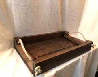 Serving Tray, One of a kind Rustic wood wreation, Cozy Table Center
