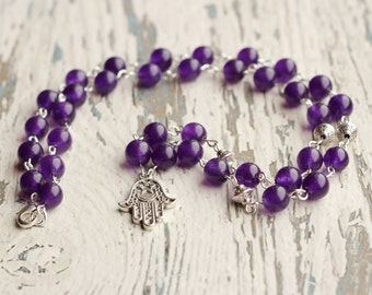 hamsa hand necklace purple necklace hamsa jewelry women necklace her gift good luck necklace protection talisman Fatima jade beads necklaces