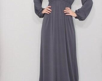 SALE Gray maxi dress Long sleeve dress Empire waist dress Women Custom clothing