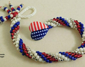 American Patriotic Bracelet with Flag Button