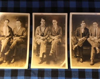 Set of 3 vintage photograph postcards-young men-sepia-blank-photographer notes-antique-brothers-cousins-fraternity