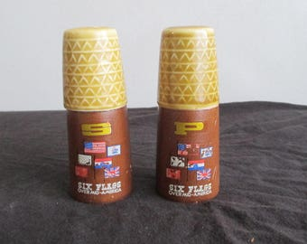 Vintage 1970s Six Flags Over America Salt & Pepper Shakers