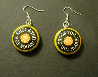 Recycled Shock Top Beer Bottle Cap Earrings