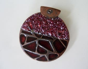 great vintage Burgundy and copper pendant