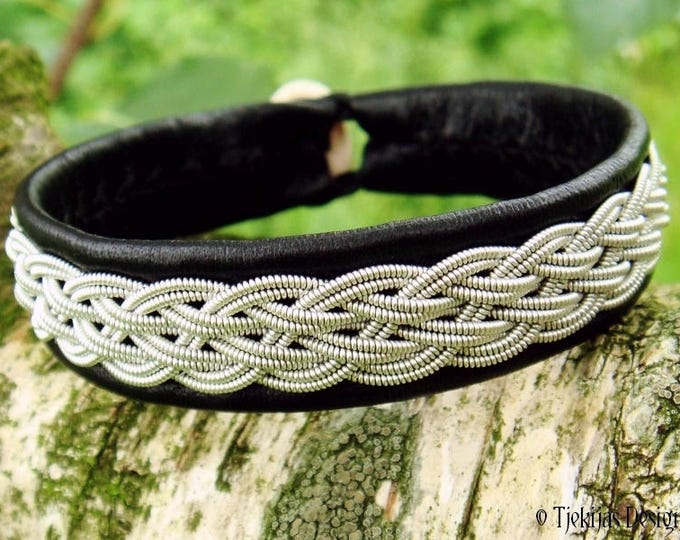 Viking Sami Bracelet Cuff DVALIN Handcrafted in Black Reindeer Leather, Spun Pewter Braid and Antler Closure
