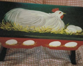 Hand Painted Foot Stool - Hen & Eggs