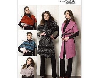 Vogue V8965 Size 4-14 or 16-22 Misses Wrap Coat Sewing Pattern / Uncut FF
