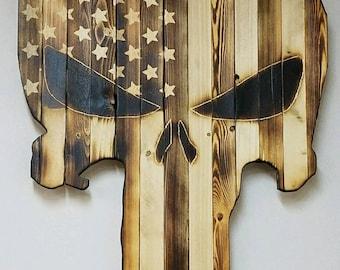 Punisher Burned Wood Flag