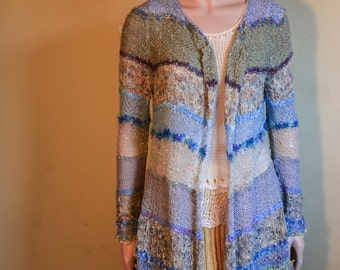 Spring Summer duster coat cotton viscose sky blue white navy multicolor one of a kind