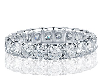 3 Carat Diamond Eternity Band, Round Cut Natural Diamond Eternity Ring, Eternity Band White Gold,  Full Eternity Band, 18k White Gold