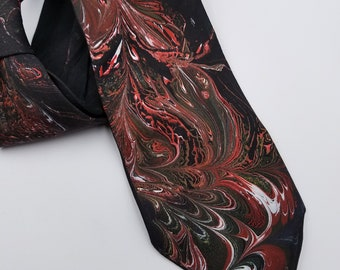 Black, Red, and White, Hand Painted Silk Tie / Marbled Tie / Wide Tie / Men's Tie / Women's Tie / Gift For Him / Gift For Her
