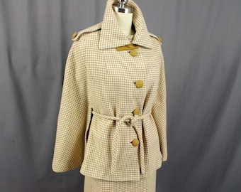 1960s 2 Piece Wool Beige Checked Shift Dress and Wool Cape, 1960s Cape, 60s Dress, Womens Wool Suit, Mod Dress and Cape