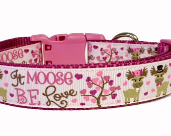 Valentine's Dog Collar, Valentine's Day Collar, Moose be Love, Lips, Kisses, Designer Dog Accessories, Pet Accessories