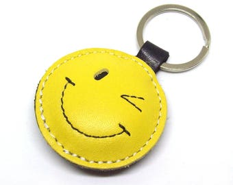 Smiley LEather Keychain Wink Smiley ;-) , Happy Face ;) Emoticon Yellow Leather Keychain FREE Shipping Worldwide Leather Smiley Bag Charm