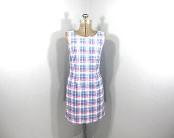 Brooks Brothers Dress, Plaid Dress, Shift Dress, Lightweight Dress, Classic Plaid, Blue, White, Pink, Oversized Plaid, SIze Sm, Med