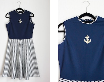 Vintage Navy and White Sailor Dress