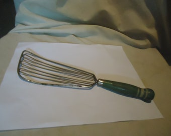 Vintage Batter Beater With Green Wood Handle, collectable