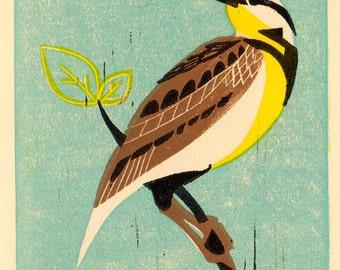 MEADOW LARK Bird - Original Hand-Pulled Linocut Art Print 5 x 7, Blue, Turquoise, Aqua, Yellow, Brown, Black, Blue and Brown, Shabby Chic