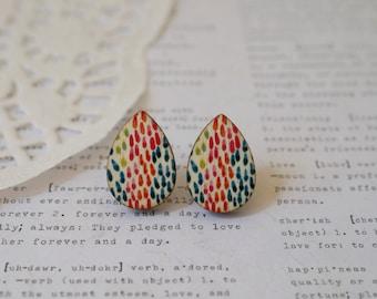 Wooden Teardrop Colourful Raindrops Stud Earrings