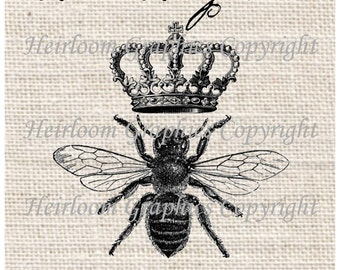 Queen Bee Iron On Digital Download  Insect  Queen Bee Transfer