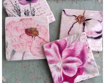 Pink Floral -stone coaster set