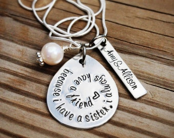 Hand stamped SISTER necklace, personalized, custom, unique gift for birthdays or Christmas