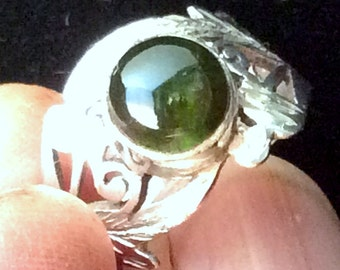 Size 4 Sterling Silver Ring. Lacy Green Tourmaline  or Black Onyx free US ship
