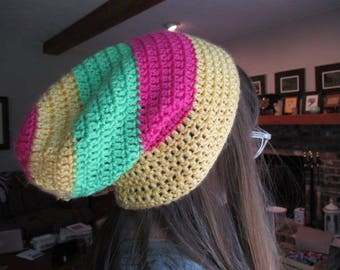 Crochet Pink, Green & Yellow Slouch Beanie Hat