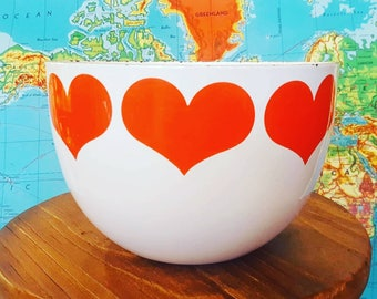 Enamel Heart Bowl, Red And White Enamel Bowl, Large Vintage Arabia Finland Bowl, Kaj Franck, Enamel Bowl, Mid Century Bowl, Finland Bowl