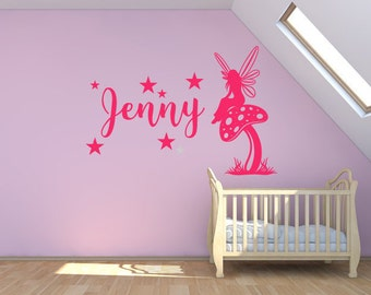 Custom Nursery Wall Sticker - Girls Name, Fairy On Mushroom With Stars