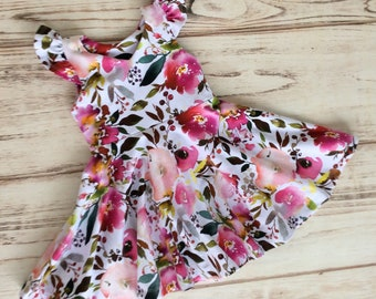 Girls summer dress - girls floral dress - floral dress for girls - summer dress for girls - girls outfit for spring - twirl dress