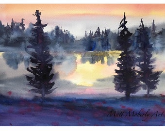 Original Watercolor Sunset Scene Pond Land Trees