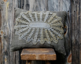pillow organic hemp canvas natural hand dyed with vintage dyed doily