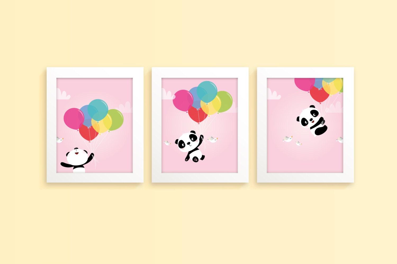 Panda print nursery art girl children\'s art girls room