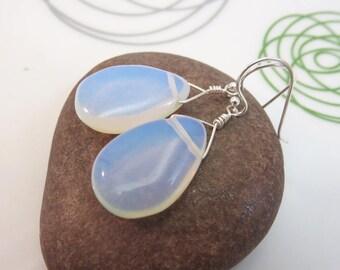 Opalite earrings - opalite drop earrings - blue drop earrings - light blue earrings - sterling silver earrings - faux moonstone earrings