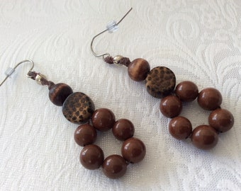 Clay and wood beads with brown linen cord dangle drop earrings