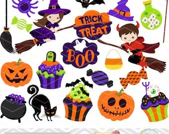 Instant Download Halloween Clipart, Halloween Digital Clip Art, Trick or Treat Clip Art, Halloween Girl Clip Art Halloween Boy Clip Art 0150