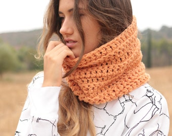 Apricot crochet cowl neck warmer, women's cowl, chunky neck warmer, winter neck scarf, free shipping