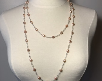Extra Long Pink Pearl and Sterling Silver Necklace Set with Earrings