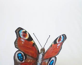 Metal Butterfly Sculpture, Scrap Metal, Peacock Butterfly, Oil Painted, Original Artwork, UK Wildlife
