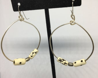 Wire and bone bead hoops