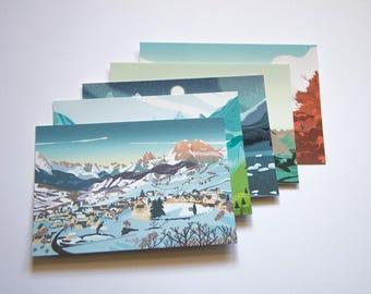 Lot 5 cartes postales