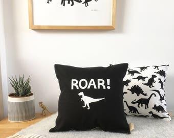 Personalised Monochrome Dinosaur Cushion