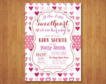 Little Sweetheart Baby Shower Invitation. Valentines Day Baby Shower Invitation. February. Pink, Red Heart. Girl or Boy. Printable Digital.