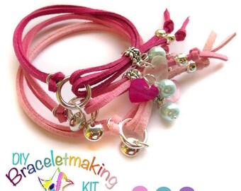 DIY jewelry making kit, Set of 3 Stacking bracelets to make, wear and share, diy kit, Friendship charm Bracelet craft kit